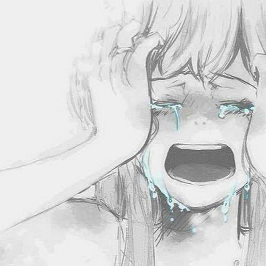 Аниме девушка плачет арт