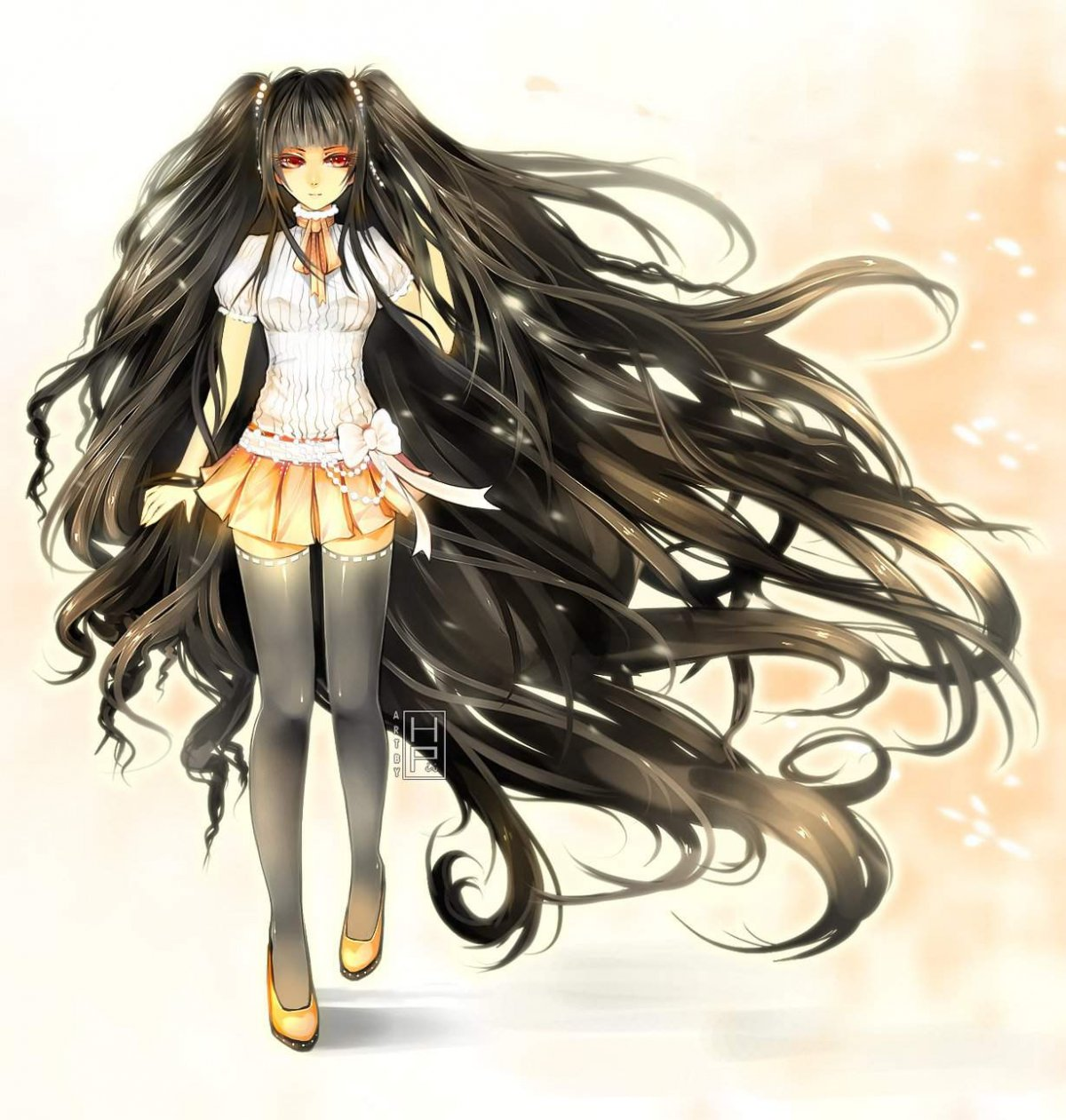Аниме персонажи с длинными черными волосами