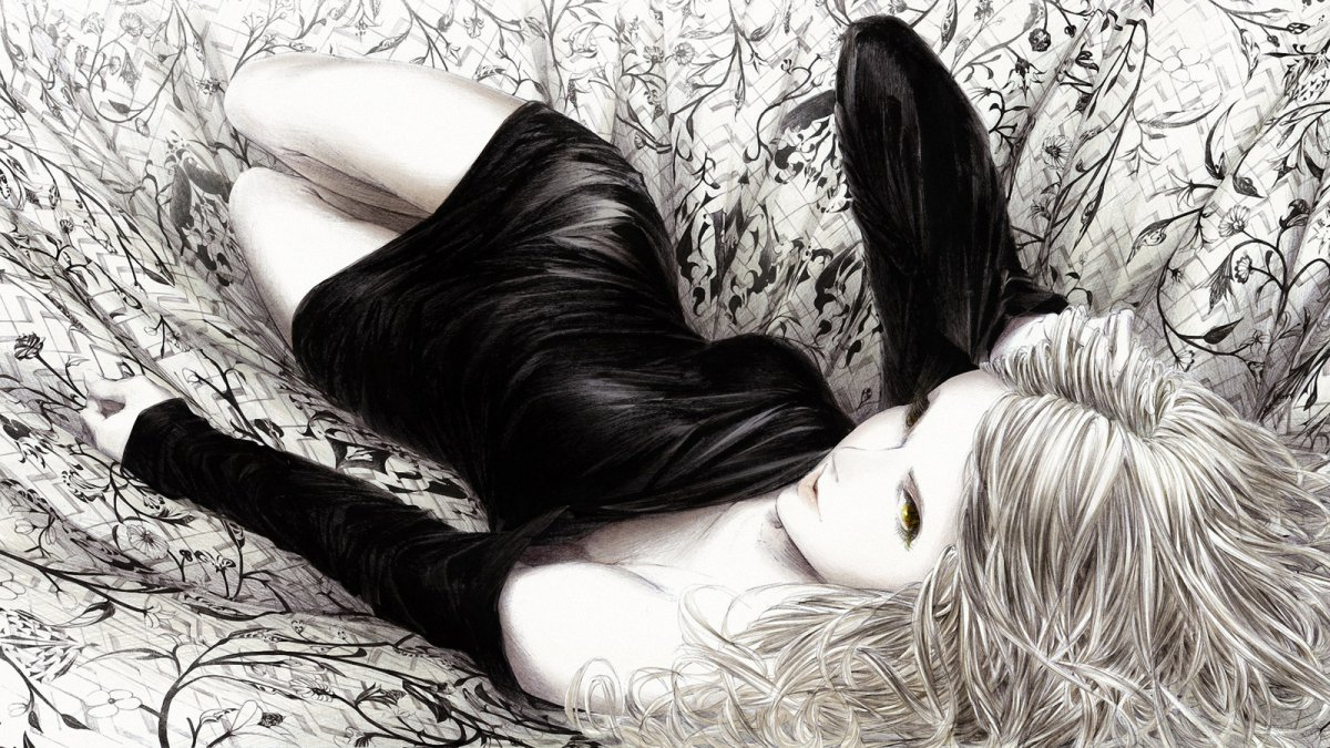 Аниме девушка в черном