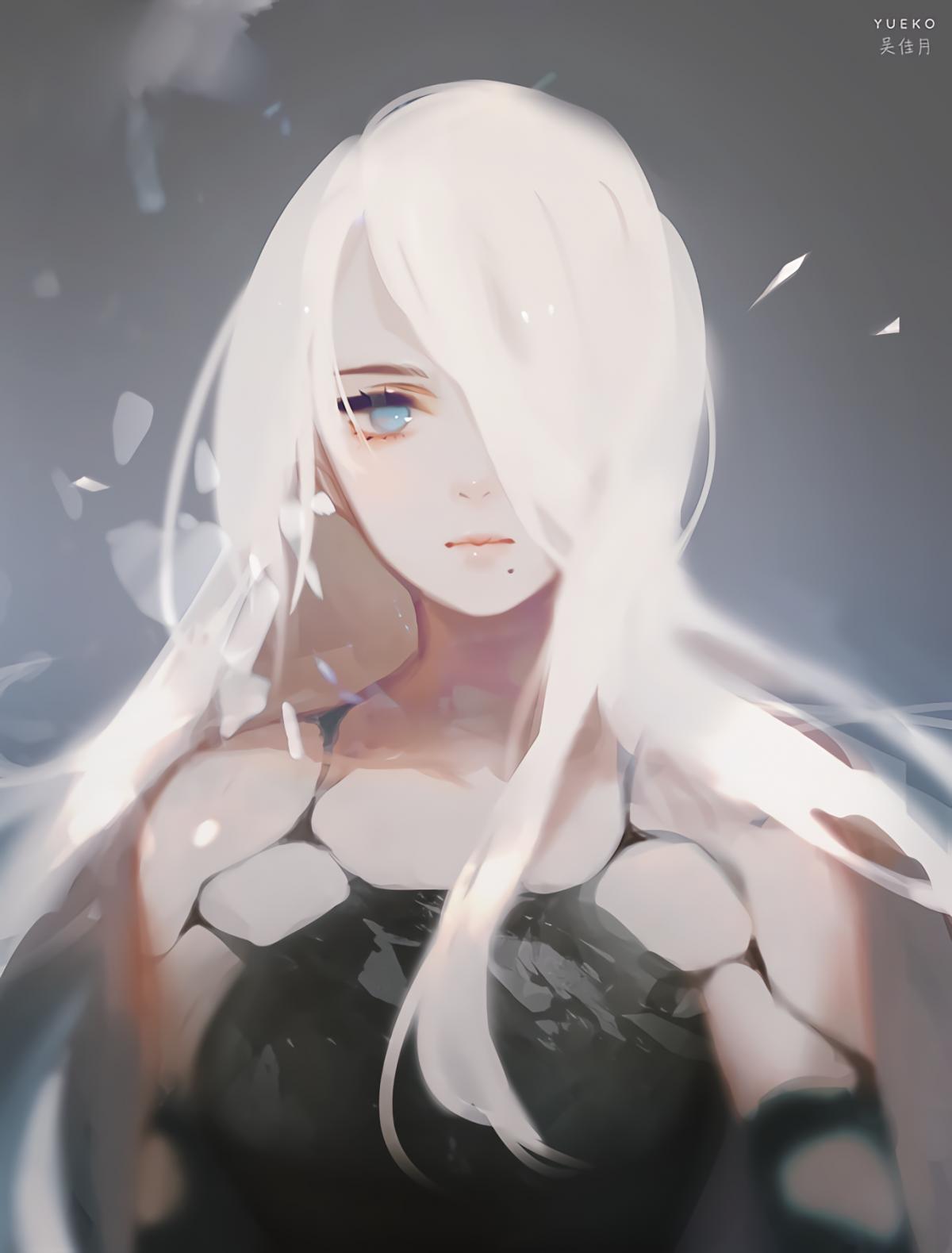 Арты девушек с белыми волосами
