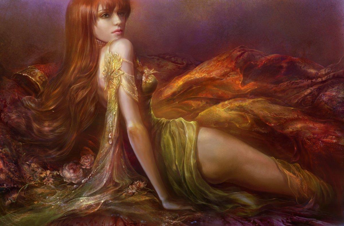 Девушка с рыжими волосами арт