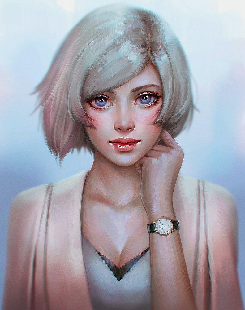 Блондинка с короткими волосами арт