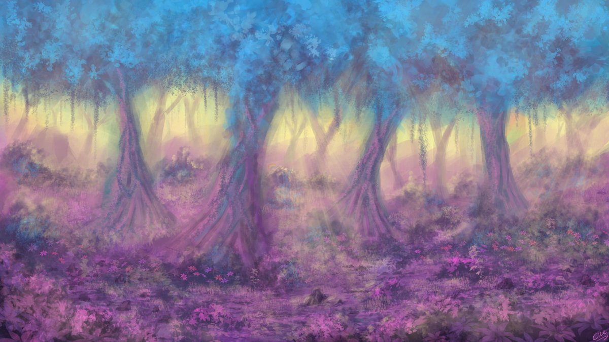Задний фон лес арт