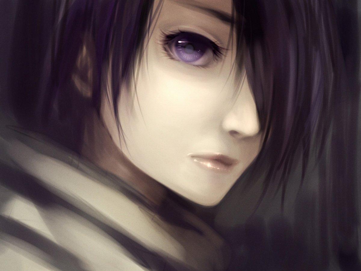 Аниме черные волосы фиолетовые глаза