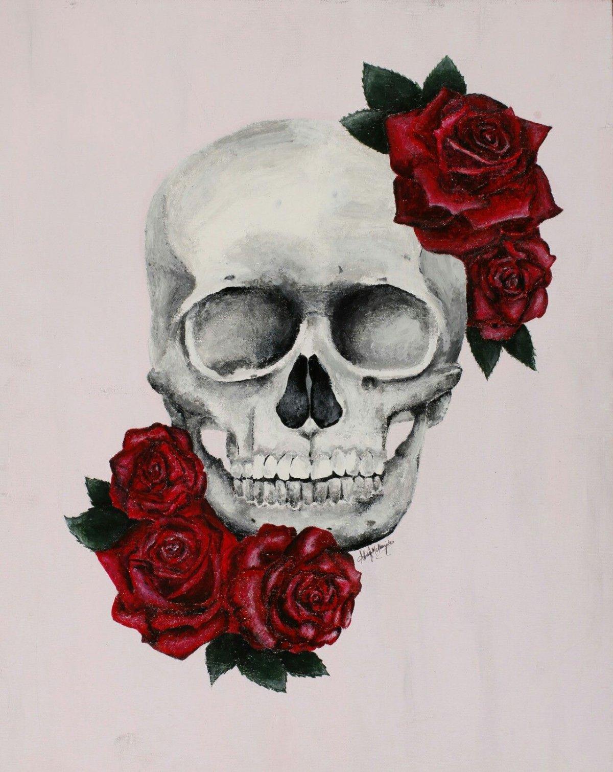 Череп с розами арт