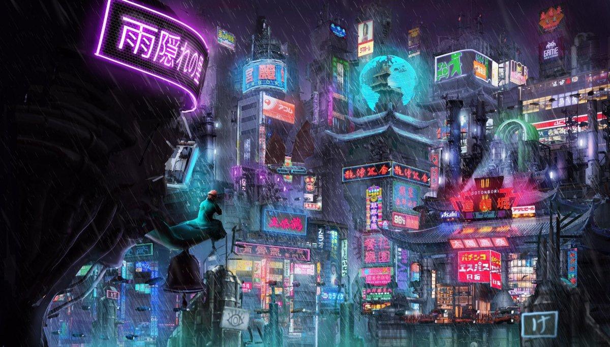 Японский киберпанк арт